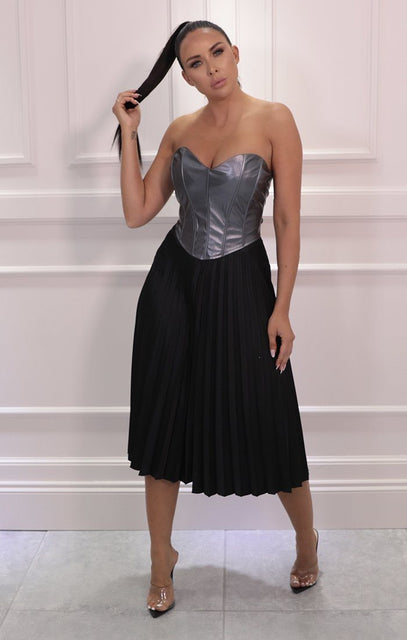 Black Satin Pleated Midi Skirt - Leona