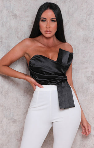 Black Strapless Satin Bodysuits