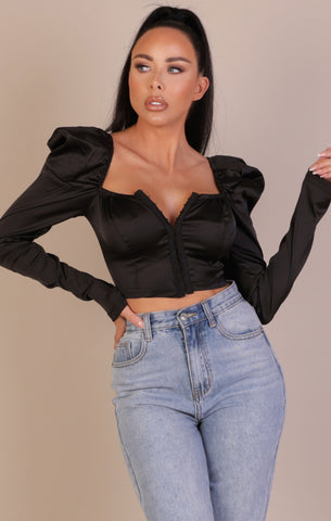 Black Satin Corset Tops