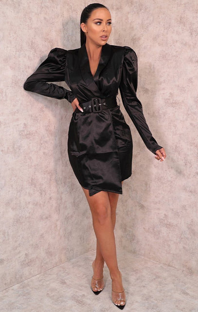 Black Satin Puff Sleeve Belted Blazer Dress - Shawn