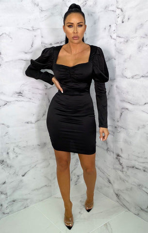 Black Puff Sleeve Dresses