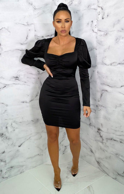 Black Satin Puff Sleeve Bodycon Mini Dress - Winona