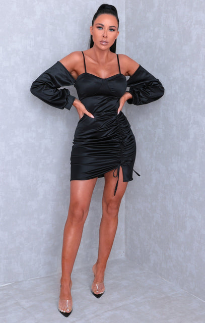 Black Satin Ruched Side Bodycon Mini Dress - Emilia