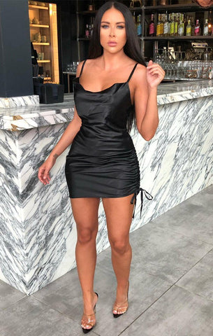 Black Satin Mini Dresses