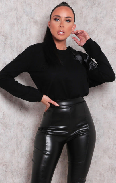 Black Satin Ruffle Cut Out Fleece Top - Nadia