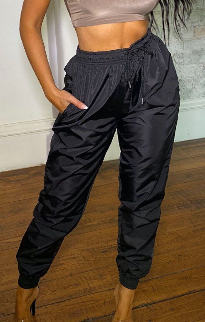 Black Shellsuit Elasticated Cuffed Joggers - Ashby