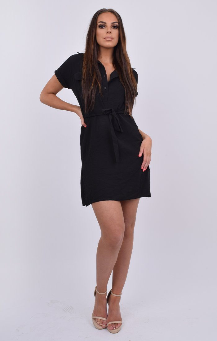 Black Short Sleeve Oversized Shirt Dress - Leona