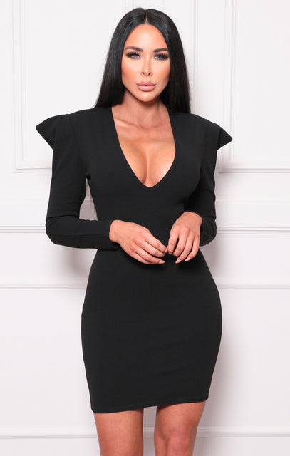 Black Shoulder Pads Plunge Bodycon Mini Dress - Halima