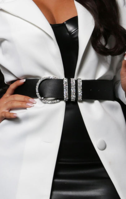 Black Silver Diamante Thick Belt - Jemima
