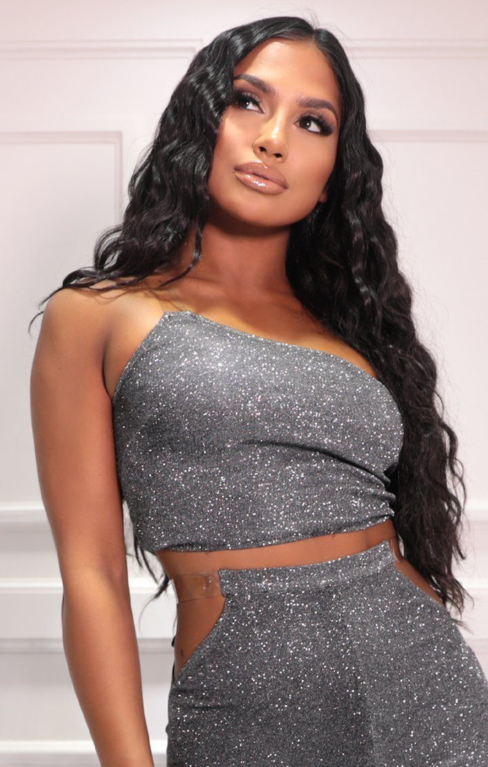 Black & Silver Glitter One Shoulder Clear Strap Crop Top - Isabelle