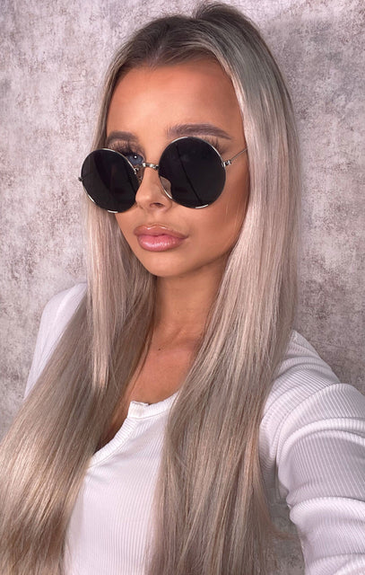 Black & Silver Round Reflective Sunglasses - Lucy