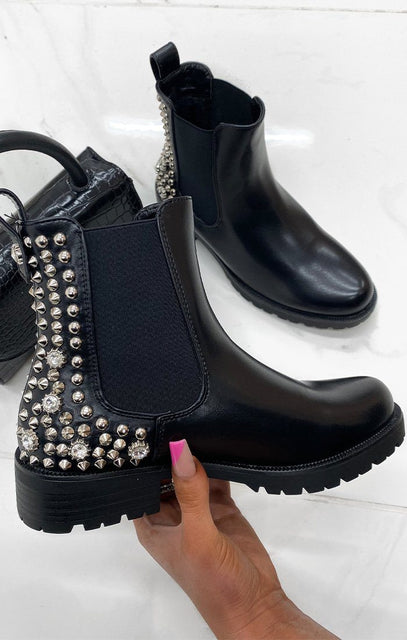 Black Silver Studded Diamond Chelsea Boots - Tammy