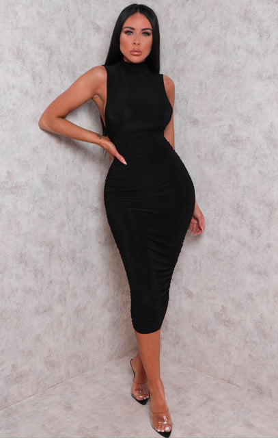 Black Slinky High Neck Sleeveless Bodycon Midi Dress - Lorenzo
