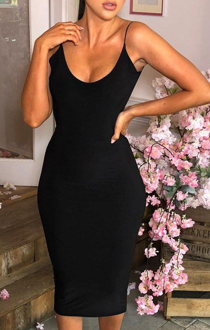 Black Slinky Open Ruched Back Dress - Aurelia