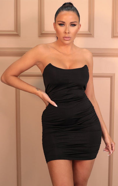 Black Slinky Ruched Side Strapless Mini Dress - Emma