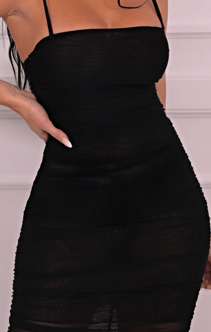 Black Slinky Ruched Split Leg Mesh Maxi Dress - Mariah