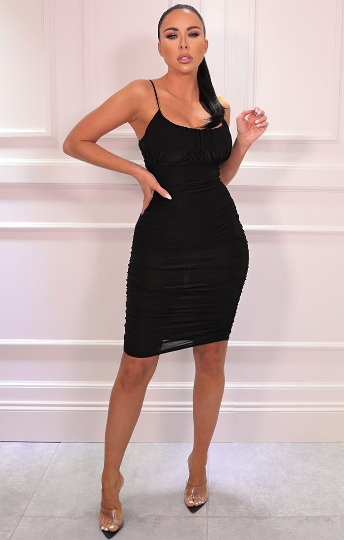 Black Slinky Ruched Strappy Bodycon Midi Dress - Kady