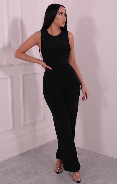 Black Slinky Wide Leg Jumpsuit - Mary