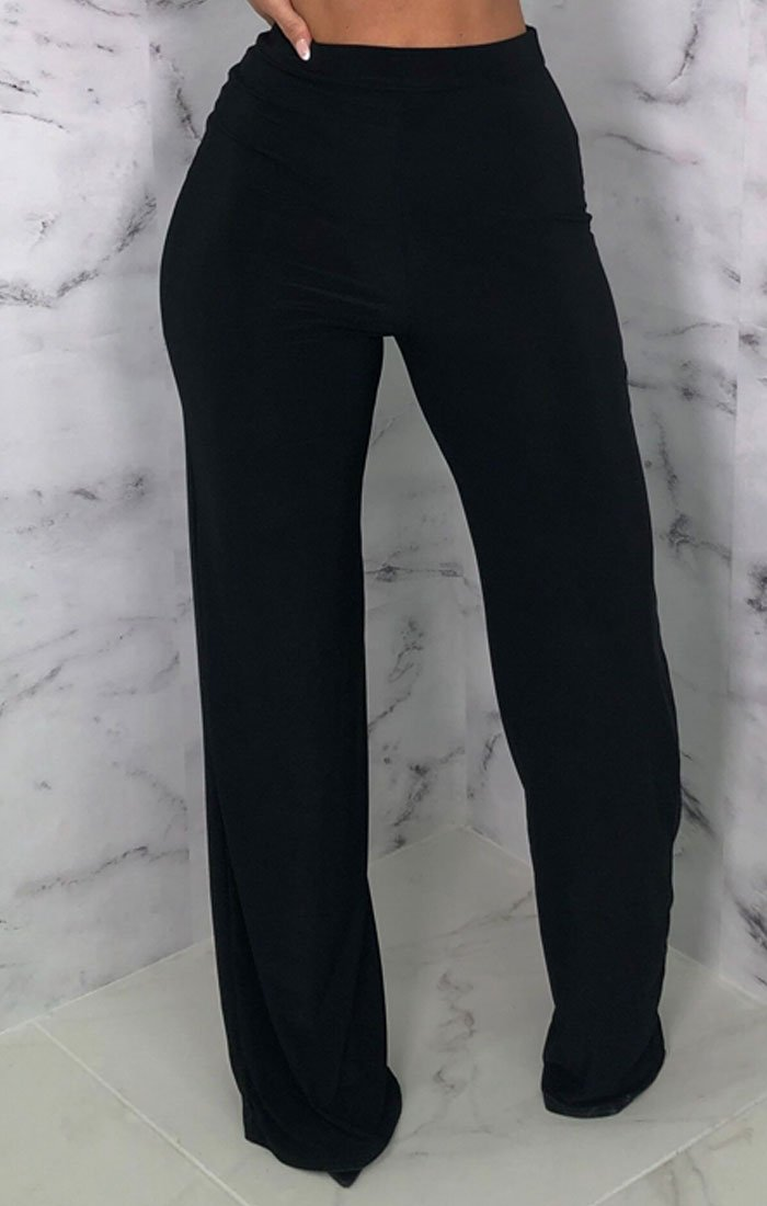 Black Slinky Wide Leg Trousers - Kosmo