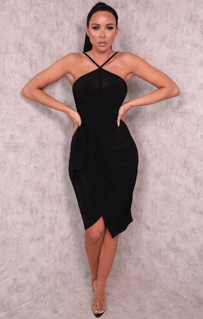 Black Slinky Wrap Halter Neck Dress - Floriana
