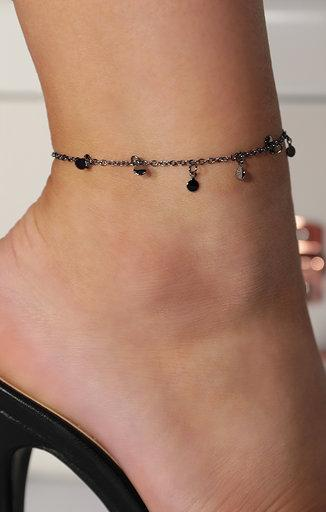 Black Small Circle Drop Chain Anklet - Theo