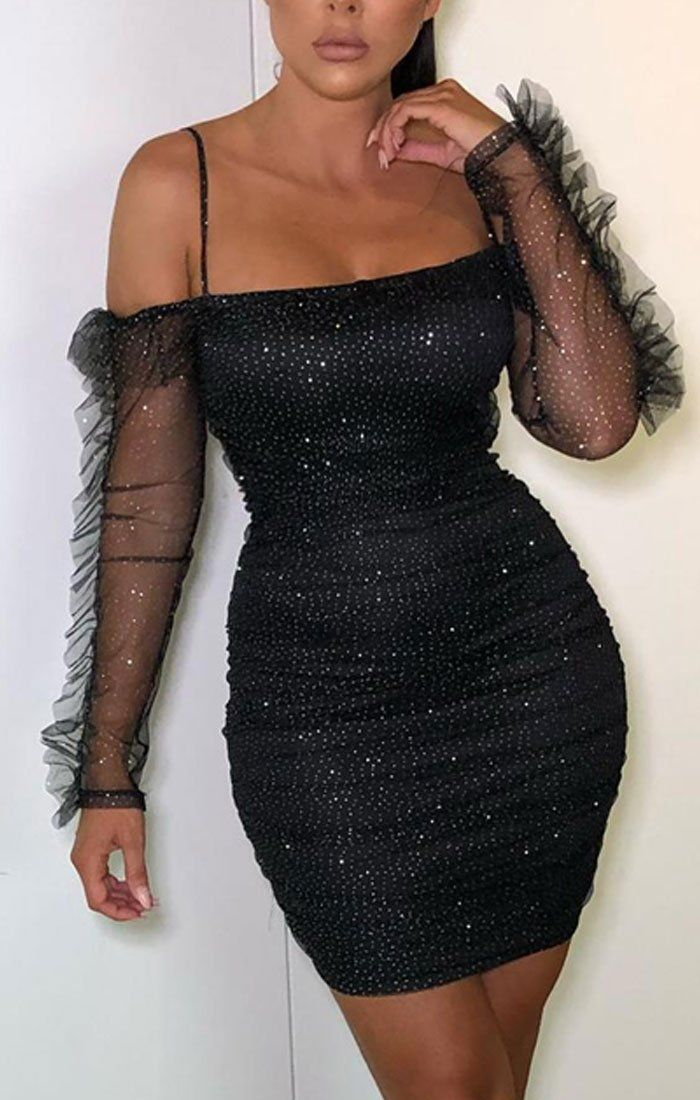 Black Sparkly Glitter Bardot Bodycon Dress - Madison