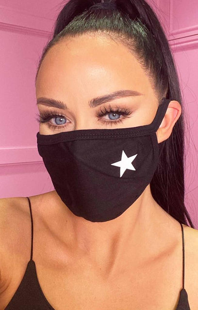 Black Star Print Cotton Washable Hygiene Mask