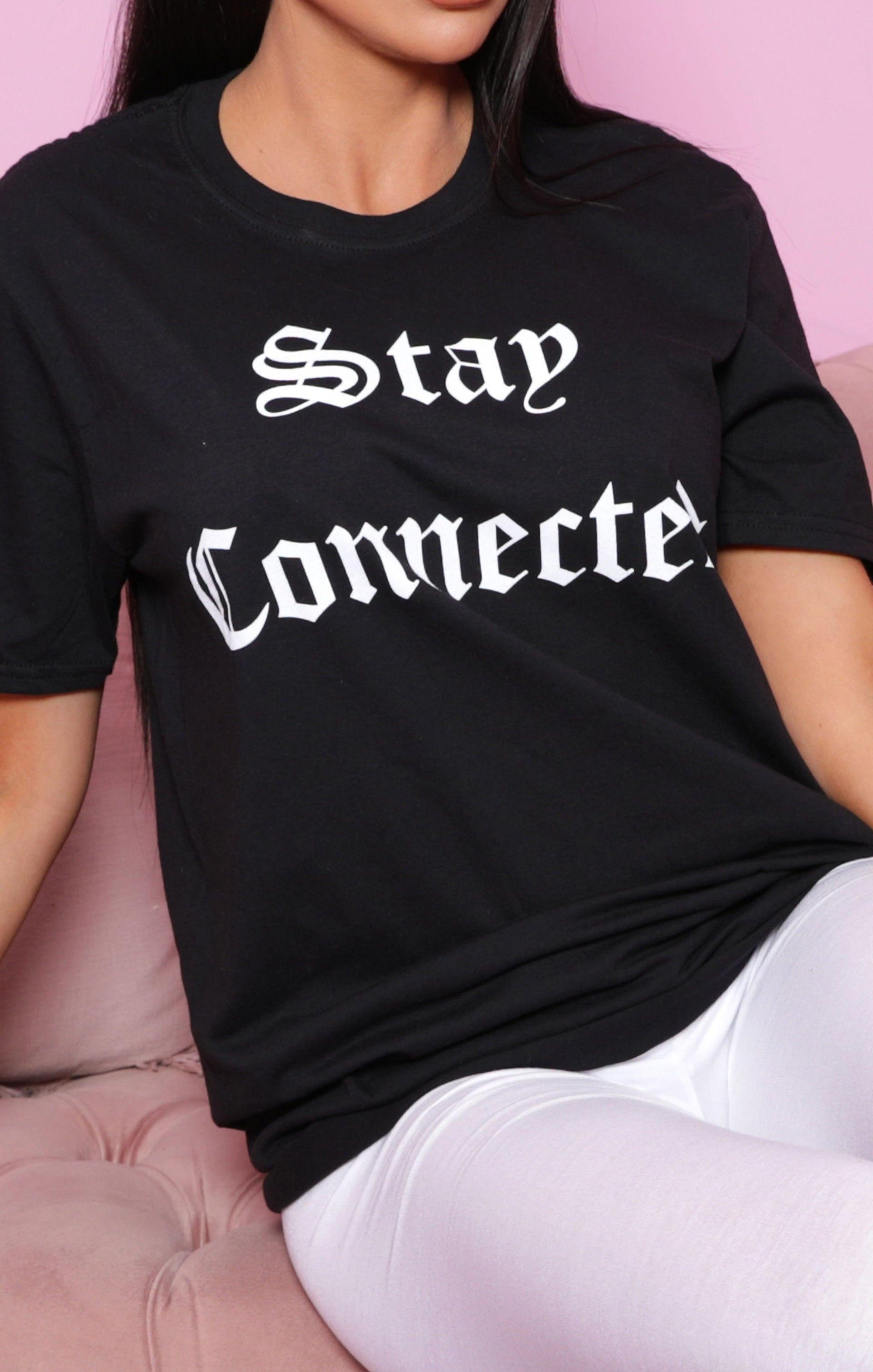 Black 'Stay Connected' Slogan Print T-Shirt - Margo
