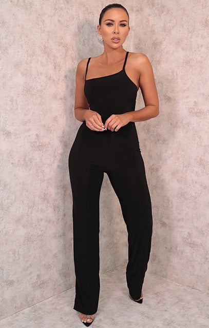 Black Strappy Wide Leg Jumpsuit - Mazie