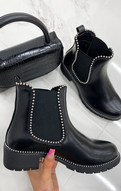 Black Studded Ankle Chelsea Boots - Finlay