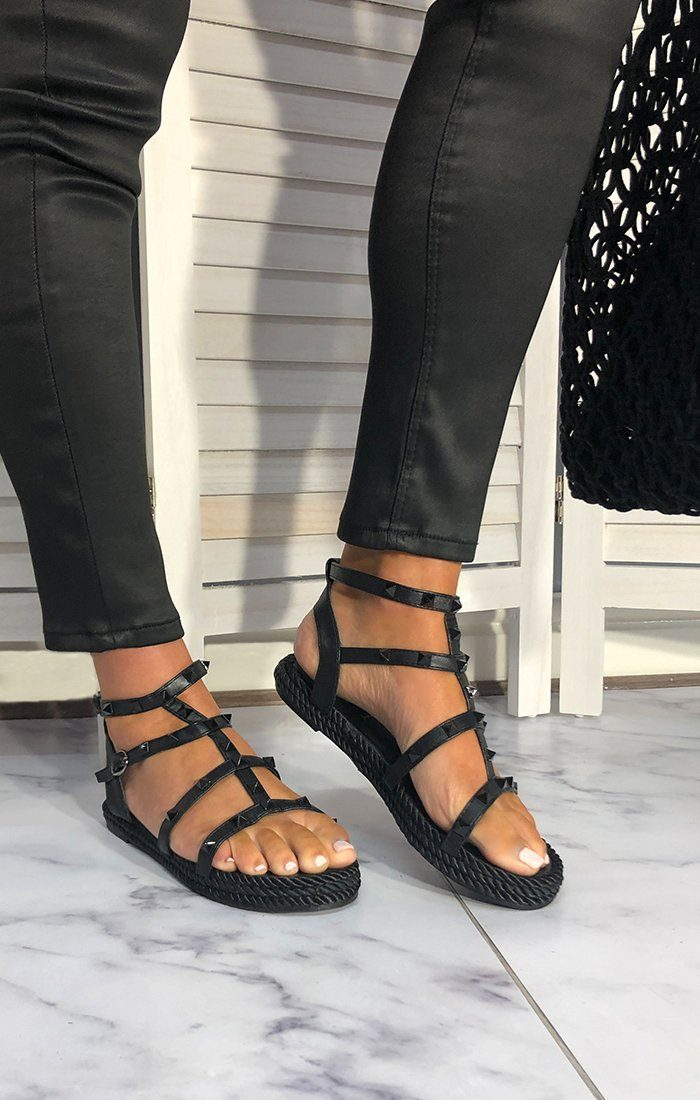Black Studded Strappy Sandals - Vanesi