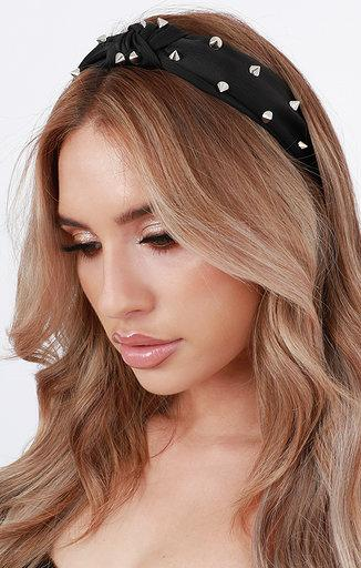 Black Studded Twist Knot Headband - Taylor