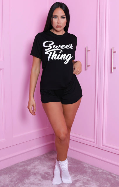 Black 'Sweet Thing' Slogan Print Shorts Pyjama Set - Crystal