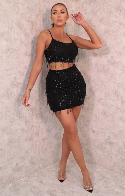 Black Tassel Sequin Crop Top & Skirt Co-ord - Londyn