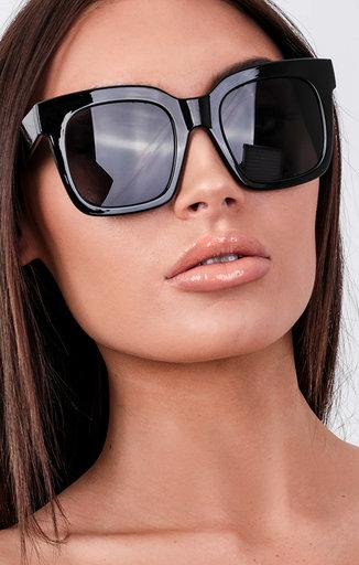 Black Thick Frame Oversized Sunglasses - Spring