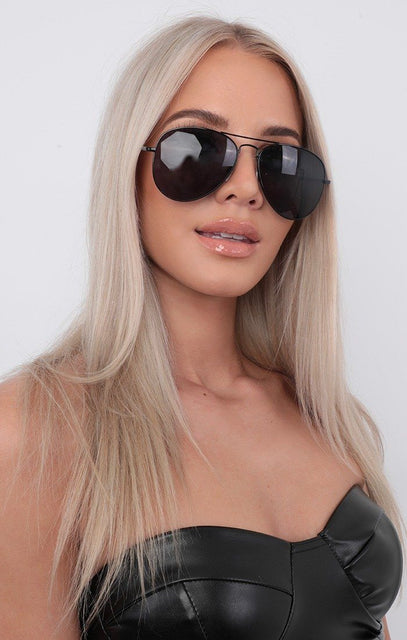 Black Thin Frame Aviator Sunglasses - Sophie