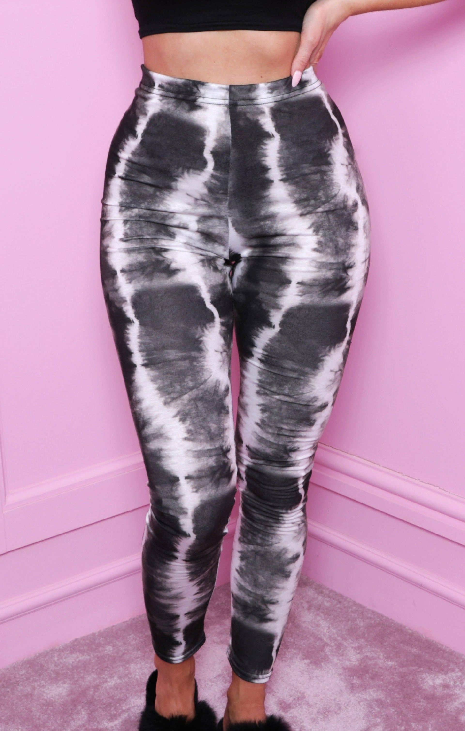 Black Tie Dye High Waisted Leggings - Kim