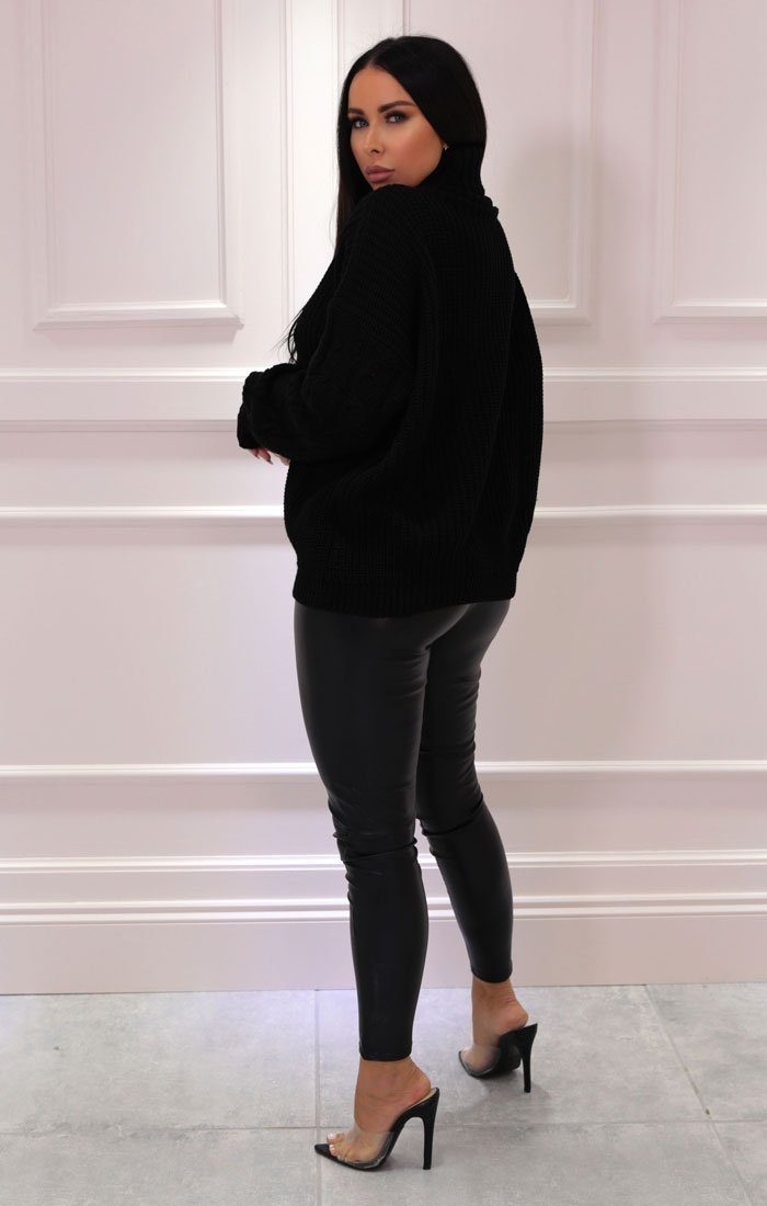 Black Turtleneck Cable Knit Sleeve Jumper - Katie