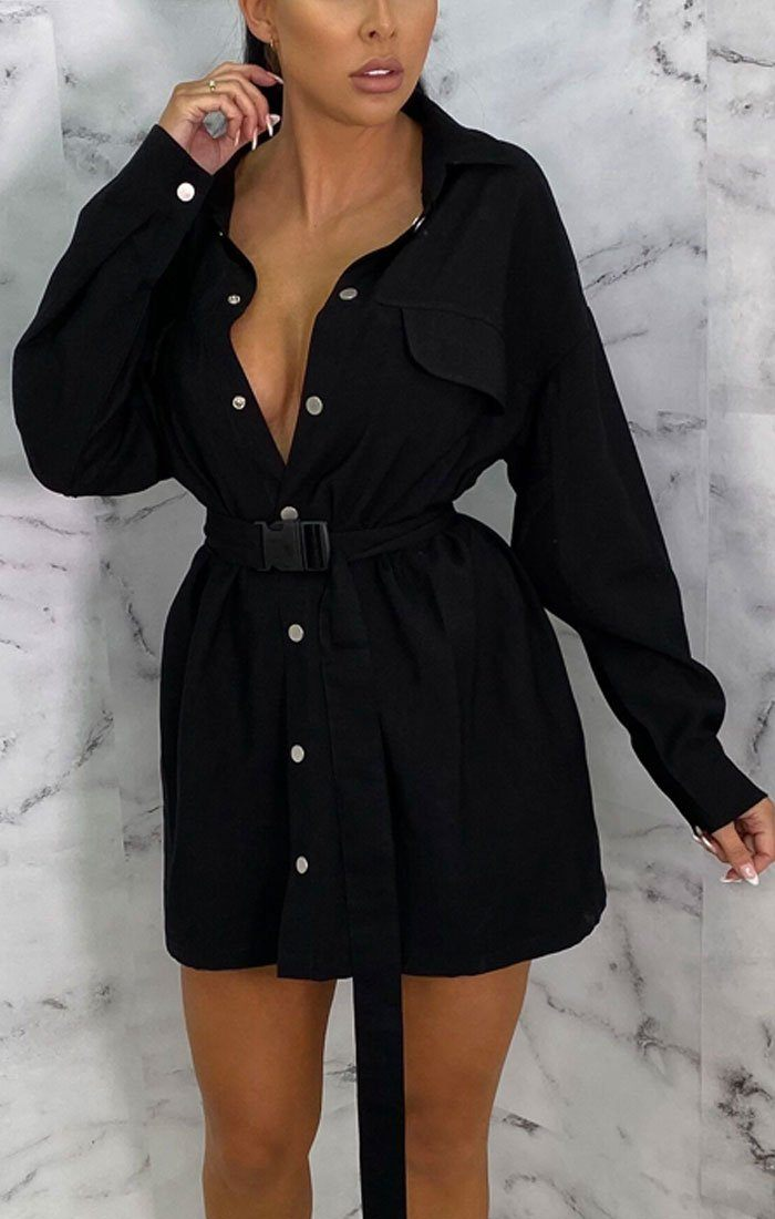 Black Utility Seatbelt Mini Shirt Dress - Reggie