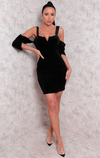 Black Velvet Bardot Wire Plunge Bodycon Mini Dress - Molly