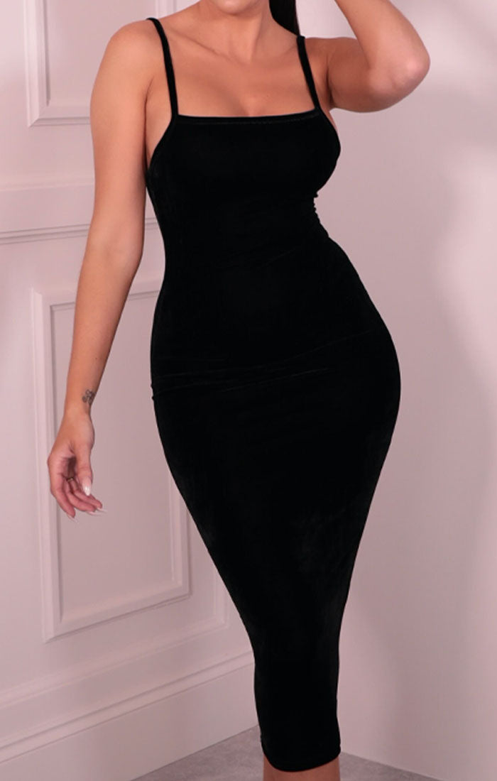 Black Velvet Strappy Square Neck Bodycon Midaxi Dress - Sara