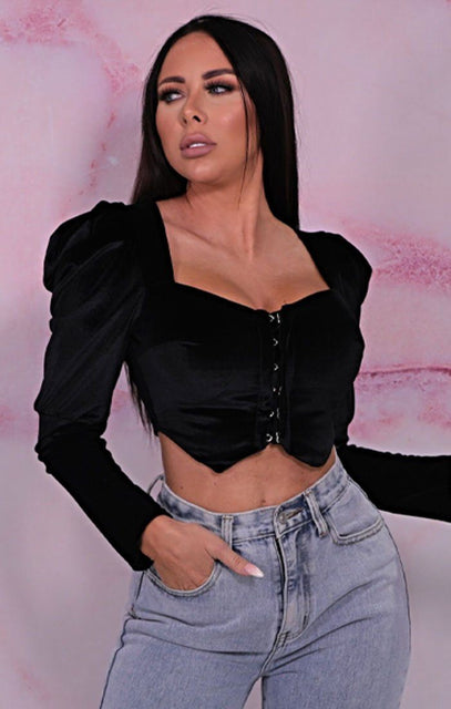 Black Velvet Puff Sleeve Hook Eye Crop Top - Ashlynn