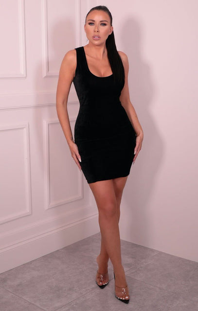 Black Velvet Sleeveless Bodycon Mini Dress - Ryan