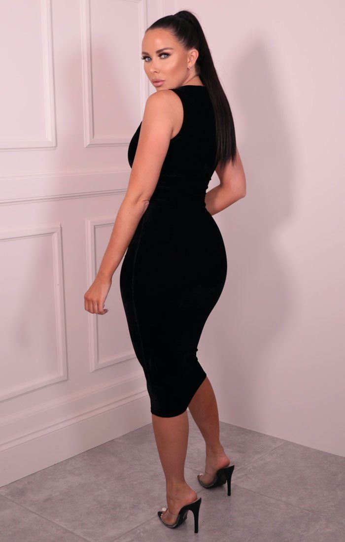 Black Velvet Sleeveless Midaxi Dress - Faith