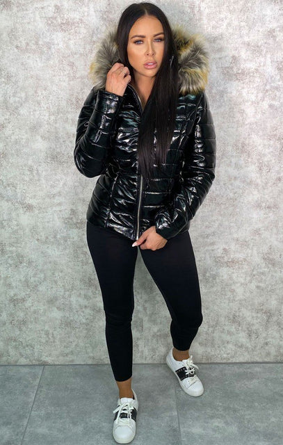 Black Vinyl Faux Fur Fitted Puffer Jacket - Mara