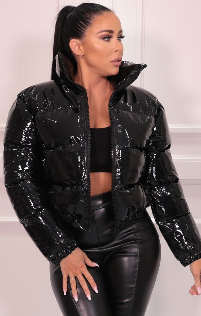 Black Vinyl High Shine Padded Puffer Jacket - Aimee