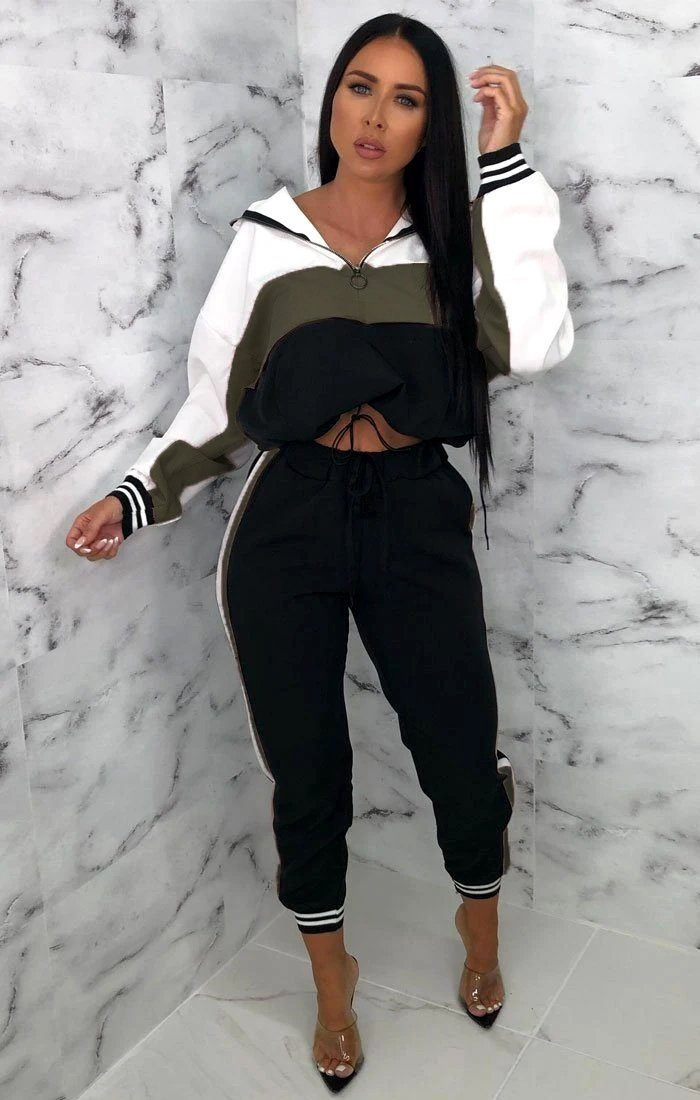 Black, White & Khaki Hoodie Cuffed Tracksuit Set - Jorydan