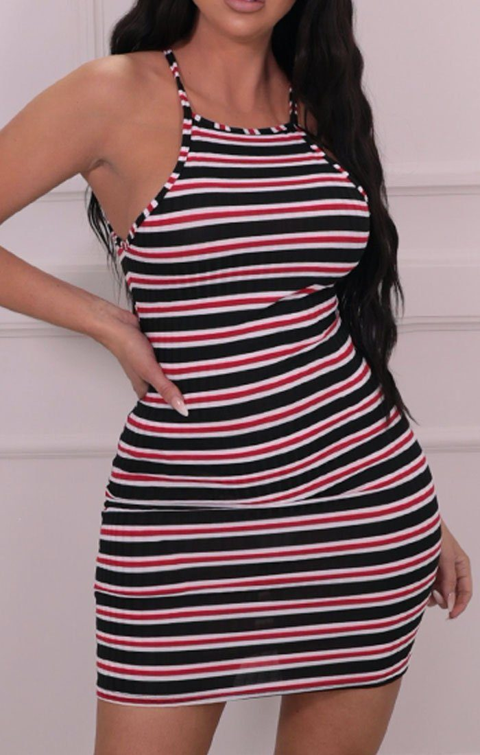 Black, White & Red Striped High Neck Mini Dress - Lois