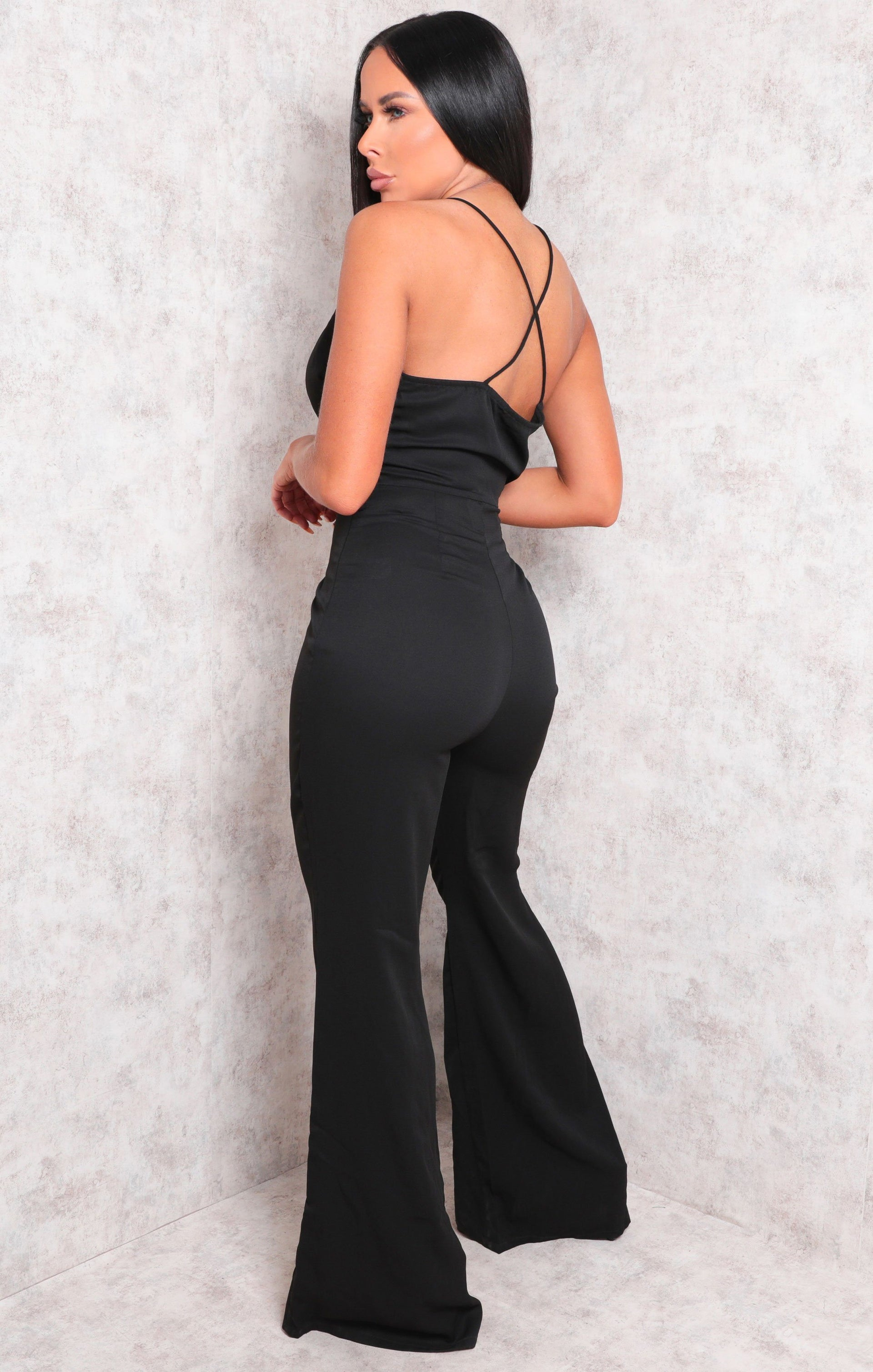 Black Wide Leg Cross Back Wrap Jumpsuit - Kimberly