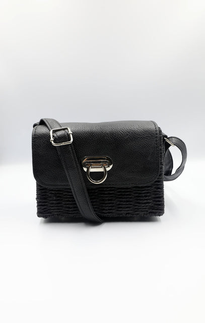 Black Woven Straw Front Close Crossbody Bag - Delilah